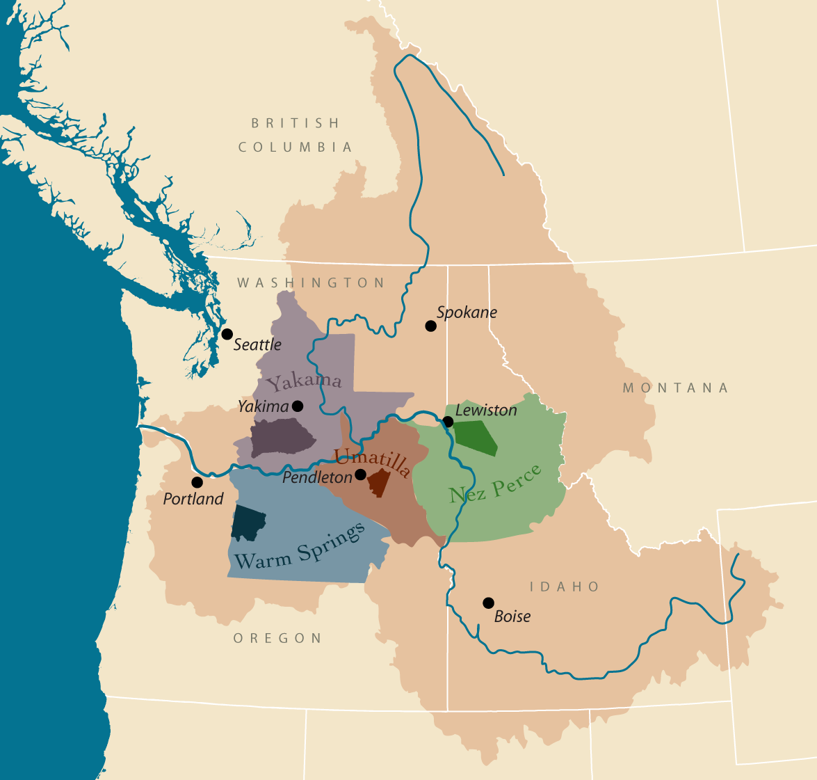Columbia indians critfc member tribes columbia tribes map of columbia basin with tribal ceded lands publicscrutiny Image collections