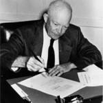 President Eisenhower signing treaty