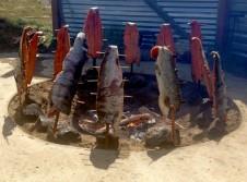 Salmon roasting at the Celilo First Salmon Feast.