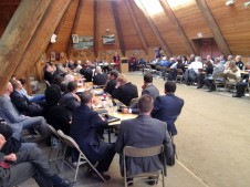 A gathering of US Attorneys at their meeting in the Celilo Longhouse.