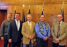 Tribal officials met with Governor Kitzhaber to discuss the Columbia River Treaty. Pictured left to right: Jim Heffernan, CRITFC policy analyst; Paul Lumley, CRITFC executive director; Oregon Governor John Kitzhaber; Charles Hudson, CRITFC governmental affairs; and Bob Austin with the Upper Snake River Tribes.