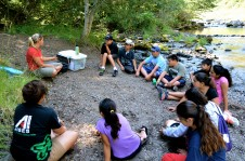 At the 2012 Salmon Camp,  Warm Springs fisheries biologist Lisa Dubisar lead a hands-on field activity on how to test water samples. The campers also learned why good water quality is important for salmon and a healthy ecosystem.