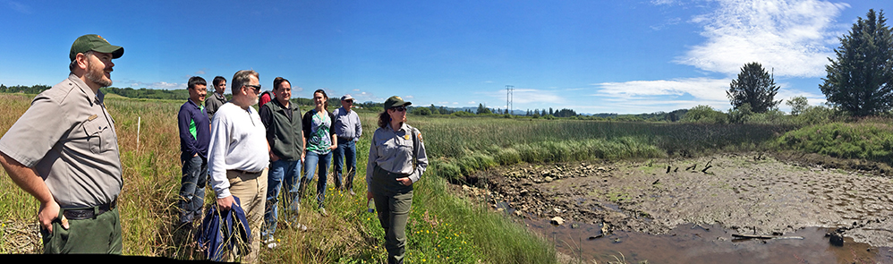 The National Park Service explains the long process that occurred working with the U.S. Army Corps of Engineers to restore wetlands. This is the site of the levee breach at Fort Clatsop. In cooperation with the Cowlitz Tribe, the wetlands are quickly guided by natural processes of healing where the river meets the land.