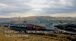 This oil train passing by The Dalles Dam was pulling 110 cars. It was over a mile long and was carrying 3.3 million gallons of crude oil.
