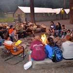 Yakama elder Wilbur Slockish shares stories with Salmon Campers.