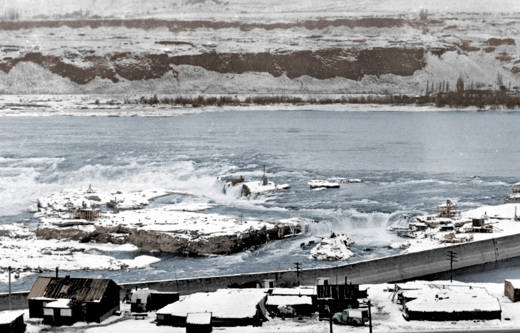 A snow-covered Celilo Falls. Photo circa 1940s and courtesy the National Archives.