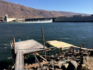 Scaffolds below John Day Dam, part of the Zone 6 fishing area that the four tribes all share management authority over.