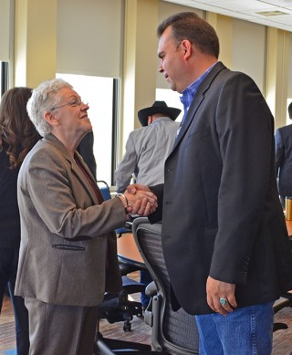 CRITFC Chairman Carlos Smith welcomes EPA Adminstrator Gina McCarthy to the tribal meeting.
