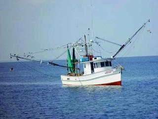 An ocean troll fishing boat
