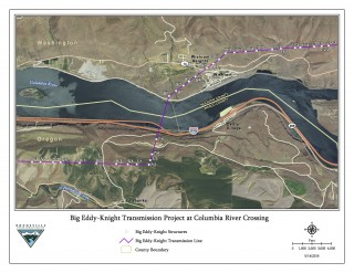 The power line crossing will be just downstream of the Celilo train bridge.